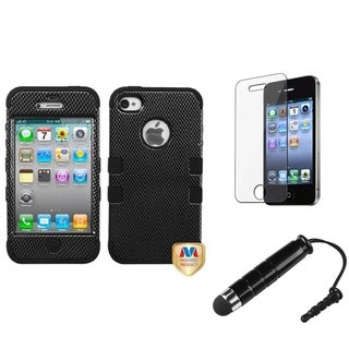 INSTEN Carbon Fiber Phone Case Cover/ Stylus/ LCD Protector for Apple iPhone 4/ 4S