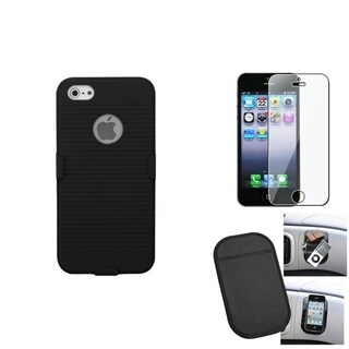 INSTEN Clear Screen Protector/ Anti-slip Mat/ Holster for Apple iPhone 5/ 5C/ 5S/ SE