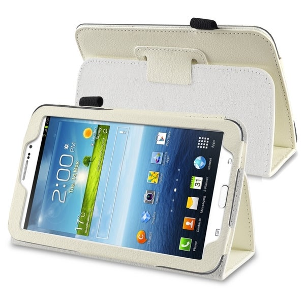INSTEN White Leather Tablet Case Cover with Stand for Samsung Galaxy Tab 3 7.0