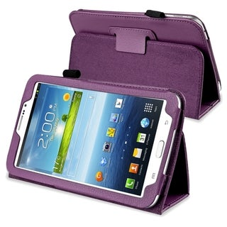 INSTEN Purple Leather Tablet Case Cover with Stand for Samsung Galaxy Tab 3 7.0