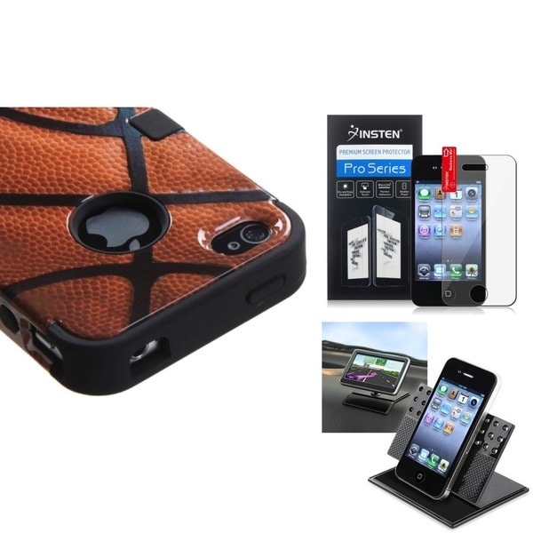INSTEN Car Dashboard Holder/ TUFF Hybrid Phone Cover/ Reusable Screen Protector for Apple iPhone 4/ 4S