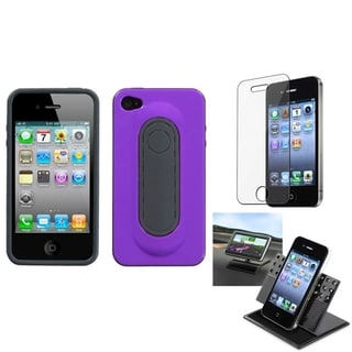 INSTEN Clear Screen Protector/ Snap Tail Stand Phone Case Cover for Apple iPhone 4/ 4S