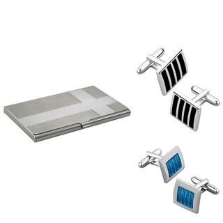 Zodaca Black Silver Cufflink/ Blue Silver Cufflink/ Card Holder