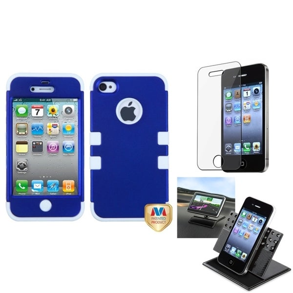 INSTEN Car Dashboard Holder/ TUFF Hybrid Phone Case Cover for Apple iPhone 4/ 4S