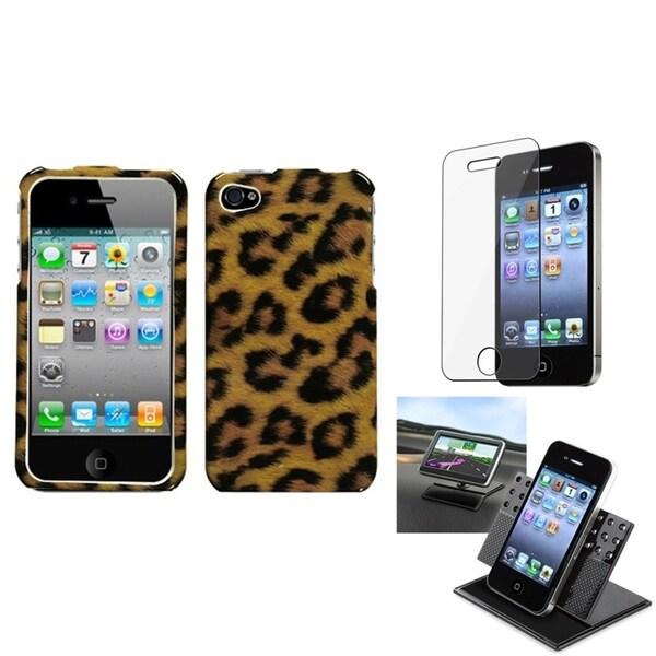 INSTEN Car Dashboard Holder/ Leopard Skin Phone Case Cover for Apple iPhone 4/ 4S