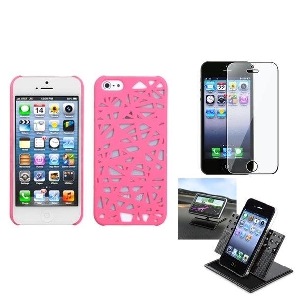 INSTEN Car Dashboard Holder/ Pink Bird's Nest Phone Case for Apple iPhone 5/ 5S/ SE