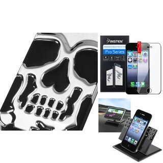 INSTEN Car Dashboard 360-degree Swivel Holder/ Skullcap Hybrid Phone Case/ Clear Screen Protector for Apple iPhone 5/ 5S/ SE