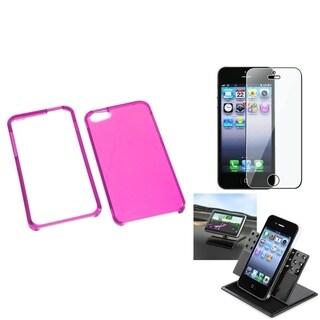 INSTEN Car Dashboard Holder/ Hot Pink Phone Case for Apple iPhone 5/ 5S/ SE
