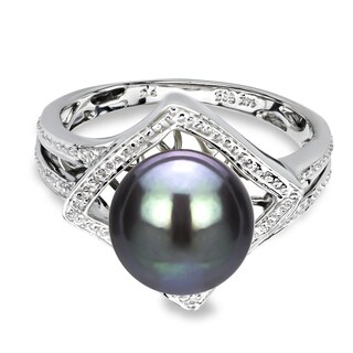 DaVonna 14k White Gold 9-10 mm Black Round Pearl Illusion Ring (More options available)