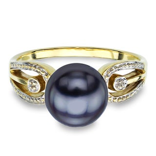 DaVonna 14k Yellow Gold Black Round Pearl Illusion Ring (9-10 mm)