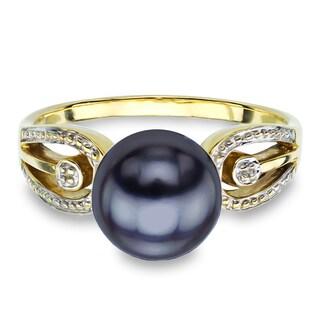 DaVonna 14k Yellow Gold Black Round Pearl Illusion Ring (9-10 mm)