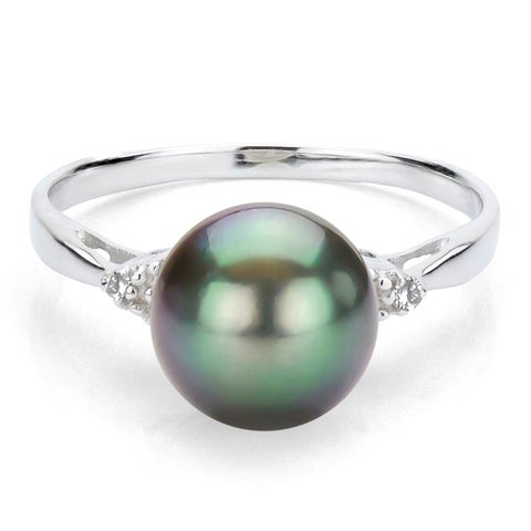 DaVonna Sterling Silver 9-10 mm Tahitian Pearl and 1/10ct Diamond Ring - Black