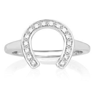 ASPCA Sterling Silver 1/10ct TDW Diamond Horseshoe Ring (I-J, I2-I3)