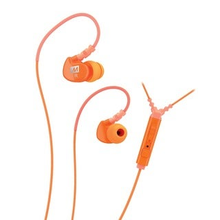 MEE audio M6P Memory Wire In-ear Orange Headphones with Microphone, Remote, and Universal Volume Control