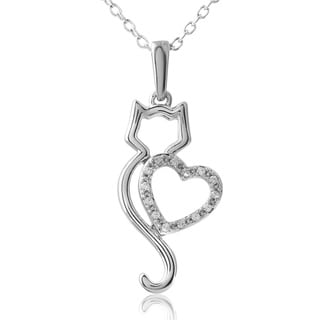 ASPCA Tender Voices Silver My Cat My Heart Pendant (1/15 cttw)