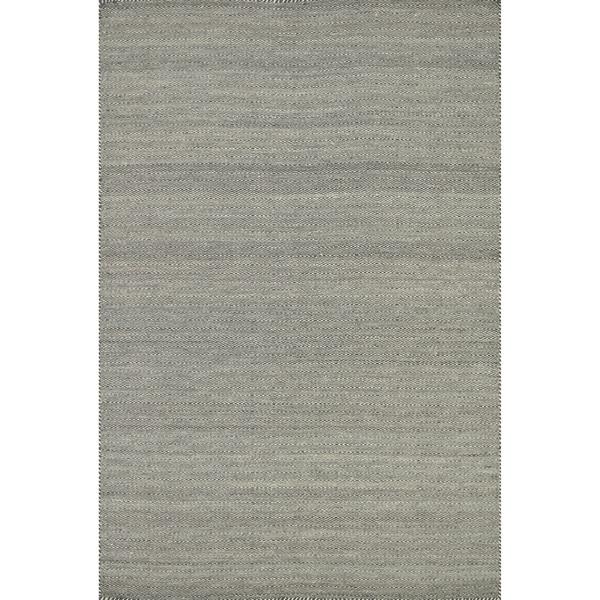 Hand-woven Smoke Grey Wool/ Cotton Area Rug - 5' x 7'6