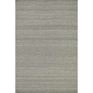 Hand-woven Poplin Smoke Wool/ Cotton Rug (7'10 x 11)