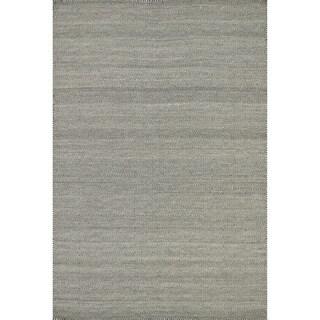 Hand-woven Poplin Smoke Wool/ Cotton Rug (9'3 x 13)