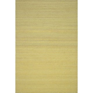 Hand-woven Poplin Citron Wool/ Cotton Rug (3'6 x 5'6)