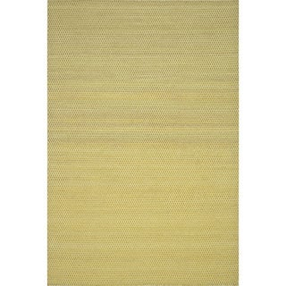Hand-woven Poplin Citron Wool/ Cotton Rug (9'3 x 13)