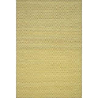 Hand-woven Poplin Citron Wool/ Cotton Rug (9'3 x 13)