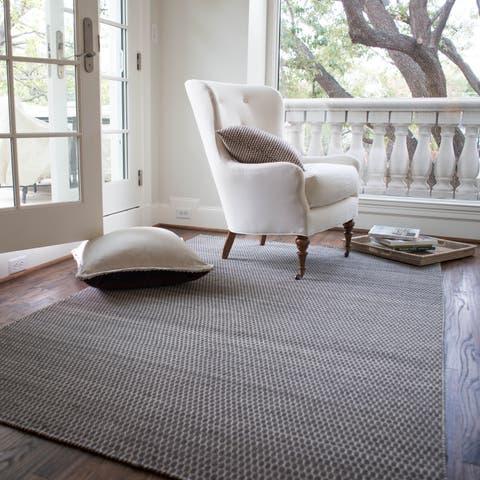 "Hand-woven Poplin Charcoal Wool/ Cotton Rug (3'6 x 5'6) - 3'6"" x 5'6"""