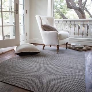 Hand-woven Poplin Charcoal Wool/ Cotton Rug (3'6 x 5'6)