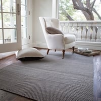 Hand-woven Poplin Charcoal Wool/ Cotton Rug - 7'10 x 11'