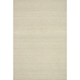 Hand-woven Poplin Beige Wool/ Cotton Rug (2'3 x 3'9)