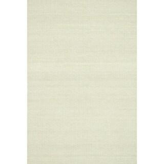 Hand-woven Poplin Beige Wool/ Cotton Rug (7'10 x 11)