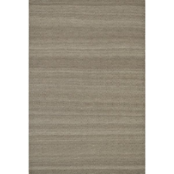 Hand-woven Poplin Chocolate Wool/ Cotton Rug ( 7'10 x 11)
