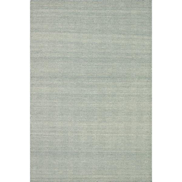 Hand-woven Poplin Aqua  Wool/ Cotton Rug (2'3 x 3'9)