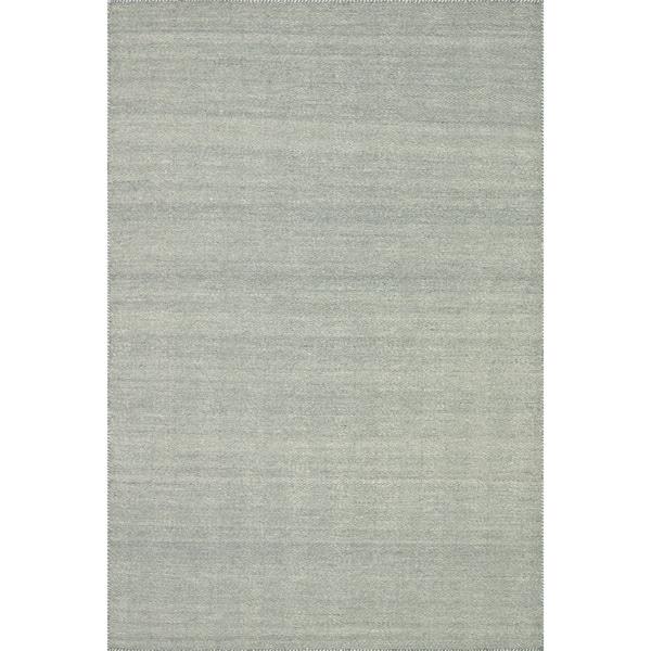 "Hand-woven Poplin Aqua Wool/ Cotton Rug ( 7'10 x 11) - 7'10"" x 11'"