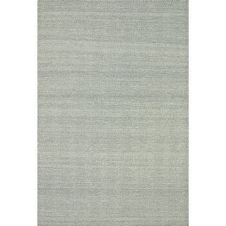Hand-woven Poplin Aqua Wool/ Cotton Rug ( 7'10 x 11)