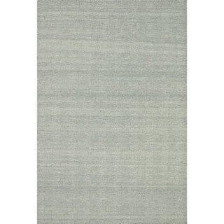 Hand-woven Poplin Aqua Wool/ Cotton Rug ( 9'3 x 13)