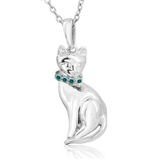 Tender Voices Sterling Silver Diamond Accent Cat Pendant