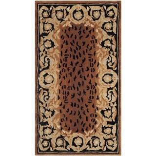Safavieh Hand-made Naples Black/ Gold Wool Rug (2' x 3')