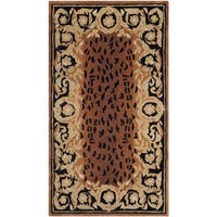 "Safavieh Hand-made Naples Black/ Gold Wool Rug - 2'6"" x 4'6"""