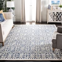 Safavieh Handmade Moroccan Cambridge Navy Blue/ Ivory Wool Rug (4' Square) - 4' x 4'