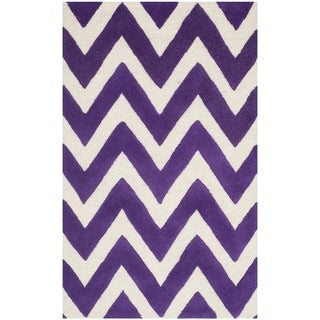 Safavieh Handmade Moroccan Cambridge Purple/ Ivory Wool Accent Rug (2'6 x 4')