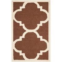 Safavieh Handmade Moroccan Cambridge Dark Brown/ Ivory Wool Accent Rug - 2'6 x 4'