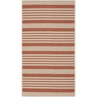 Safavieh Courtyard Stripe Terracotta/ Beige Indoor/ Outdoor Rug (2'7 x 5')