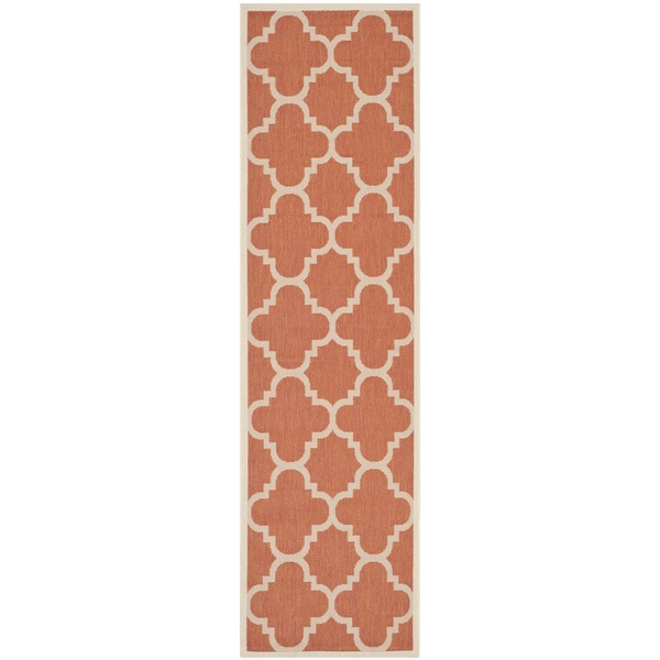 Safavieh Courtyard Quatrefoil Terracotta Indoor/ Outdoor Rug (2'3 x 6'7)