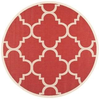 Safavieh Courtyard Quatrefoil Red Indoor/ Outdoor Rug (5'3 Round)
