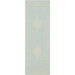 Safavieh Courtyard Classic Aqua/ Cream Indoor/ Outdoor Rug (2'3 x 6'7)