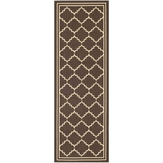 Safavieh Indoor/ Outdoor Courtyard Chocolate/ Cream Rug (2'3 x 10')