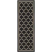 "Safavieh Courtyard Transitional Black/ Cream Indoor/ Outdoor Rug - 2'3"" x 10'"