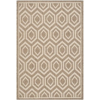 Machine-made Safavieh Indoor/ Outdoor Courtyard Brown/ Bone Rug (4' x 5'7)