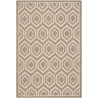 Safavieh Courtyard Honeycomb Brown/ Bone Indoor/ Outdoor Rug - 4' x 5'7