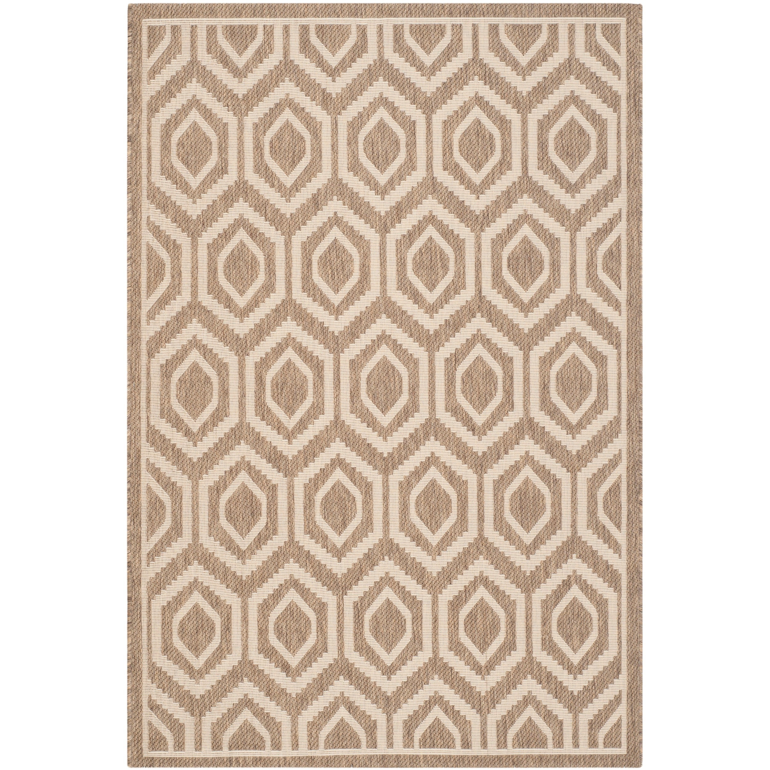Safavieh Indoor/ Outdoor Courtyard Brown/ Bone Polypropylene Rug (8 X 11)